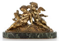 Paintings, GILT BRONZE FIGURAL GROUP OF CUPID AND PSYCHE IN A NATURALISTIC SETTING, ON VERDE MARBLE BASE . France, 20th century. 11 inc...