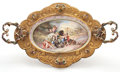 Paintings, VIENNESE ENAMEL TWO-HANDLED TRAY WITH ENAMELED APPLIED ORNAMENT TO GILT METAL MOUNTS . Austria, late 19th century. 21-3/4 in...