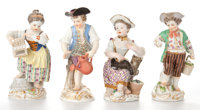 FOUR MEISSEN FIGURINES Germany, 19th century Marks to outer left and right: (blue crossed swords), F22<
