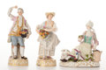 Ceramics & Porcelain, THREE MEISSEN FIGURINES . Germany, 19th century. Marks two on left: (blue crossed swords), C72 and C73. 6-3/4 inches...
