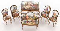 SUITE OF SIX AUSTRIAN ENAMEL FURNITURE MINIATURES, GILT METAL FRAMES 20th century 2-1/2 inches high (6.4 cm) (