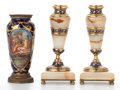 Ceramics & Porcelain, PAIR OF ONYX URN-FORM CANDLESTICKS SET IN CHAMPLEVÉ ENAMELED GILT BRONZE MOUNTS, FRENCH PORCELAIN VASE IN METAL MOUNTS . Cir... (Total: 2 Items)