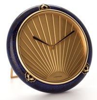 CARTIER CLOCK SET IN ENAMELED FRAME WITH QUARTZ MOVEMENT, EASEL BACK France, Late 20th Century 5-1/4 inches hi