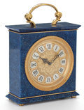 Decorative Arts, Continental:Other , JAEGER LE COULTRE LAPIS LAZULI AND BRASS CARRIAGE CLOCK .Switzerland, late 20th century. Marks to clock face: JAEGER LEC...