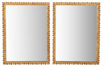 PAIR OF NEOCLASSICAL STYLE GILT BRONZE MIRRORS 20th century 34 x 25 inches (86.4 x 63.5 cm)