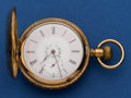 Timepieces:Pocket (post 1900), Swiss 18 Size Hunter's Case Pocket Watch With Fancy Dial. ...