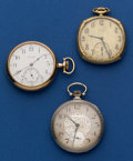 Timepieces:Pocket (post 1900), Elgin, Waltham & South Bend Pocket Watches. ... (Total: 3Items)