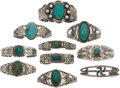 American Indian Art:Jewelry and Silverwork, TEN SOUTHWEST SILVER AND TURQUOISE BRACELETS. c. 1920... (Total: 10Items)