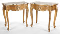Furniture : French, PAIR OF ROCOCO STYLE GILT WOOD AND MARBLE TOPPED SIDE TABLES . 20thcentury . 26 x 25-3/4 inches (66.0 x 65.4 cm). ... (Total: 2 Items)