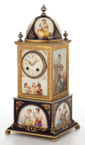 Ceramics & Porcelain, VIENNA STYLE PORCELAIN AND GILT METAL CLOCK WITH DOME TOP . Austria, 20th century. Marks: Kraus. 17 inches high (43.2 cm...