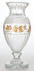 Glass, BACCARAT TALL CRYSTAL VASE WITH GILT MONKEY FRIEZE . France, 20th century . Engraved: Baccarat 22/50; red label: Bacca...