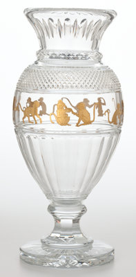 BACCARAT TALL CRYSTAL VASE WITH GILT MONKEY FRIEZE France, 20th century Engraved: Baccarat 22/50;