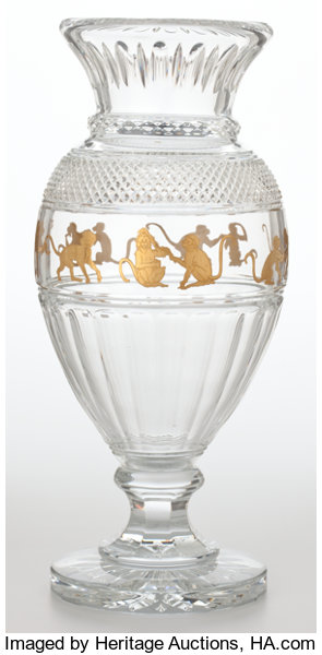 Baccarat Tall Crystal Vase With Gilt Monkey Frieze France Lot