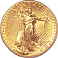 High Relief Double Eagles, 1907 $20 High Relief, Flat Rim AU58 PCGS....