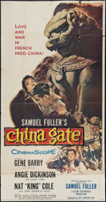 "Movie Posters:War, China Gate (20th Century Fox, 1957). Three Sheet (41"" X 81""). War....."