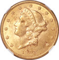 Liberty Double Eagles, 1902 $20 MS62 NGC....