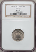 Shield Nickels, 1883/2 5C MS62 NGC. FS-301....