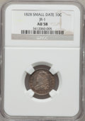 Bust Dimes, 1828 10C Small Date AU58 NGC. JR-1, R.2....