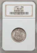 Seated Quarters, 1851 25C MS63 NGC....