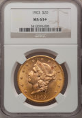 Liberty Double Eagles: , 1903 $20 MS63+ NGC. NGC Census: (4062/3458). PCGS Population(3091/3141). Mintage: 287,200. Numismedia Wsl. Price for probl...