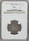 Seated Quarters, 1872-CC 25C AG3 NGC....