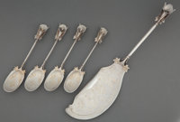 AN AMERICAN FIVE-PIECE SILVER AND SILVER GILT ICE CREAM SET Maker unknown, American, circa 1875 Marks: STE