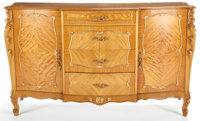 LOUIS XV STYLE MAHOGANY AND PARCEL GILT COMMODE ENSUITE WITH TWO BEDSIDE TABLES 20th century 25-1/2 x 21-1/2
