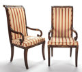 Furniture : French, PAIR OF EMPIRE STYLE GILT BRONZE MOUNTED MAHOGANY AND UPHOLSTEREDOPEN ARM CHAIRS . 20th century . 42-1/2 x 20-3/4 x 18-1/2 ...(Total: 2 Items)