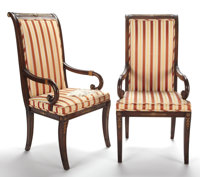PAIR OF EMPIRE STYLE GILT BRONZE MOUNTED MAHOGANY AND UPHOLSTERED OPEN ARM CHAIRS 20th century 42-1/2 x 20-3/