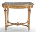Furniture , PAIR OF LOUIS XVI STYLE GILT WOOD FAUTEUILS, TOGETHER WITH A LOUIS XVI STYLE GILT WOOD AND VARIEGATED MARBLE TOP OCCASIONAL TA... (Total: 3 Items)