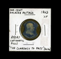 Encased Postage: , HB-3 EP-2 1¢ Ayers Cathartic Pills About New. This is the shortarrows variety. The case has nearly all of its original silv...