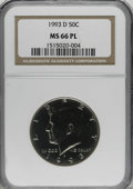 Kennedy Half Dollars, 1993-D 50C Prooflike MS66 NGC. NGC Census: (310/81). PCGSPopulation (173/97). Mintage: 15,000,006. Numismedia Wsl. Pricef...
