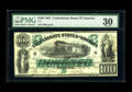 """Confederate Notes:1861 Issues, T5 $100 1861. This """"First Richmond"""" issue has impeccable eye appeal for a moderately circulated issue. The penned signatures..."""