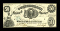 """Confederate Notes:1861 Issues, T8 $50 1861. A corner fold is found on this $50 that has a stamped blue """"C"""" for """"cancelled"""" on its face. Choice About Unci..."""