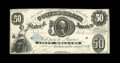 Confederate Notes:1861 Issues, T8 $50 1861. Original surfaces are found on this $50 that has a couple of pinholes and a small edge tear at top center. This...