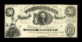 Confederate Notes:1861 Issues, T8 $50 1861. This $50 is a bright Fine-Very Fine example with sound edges. Pencilled collector notations are also on the...