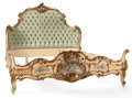 Other:European, VENETIAN ROCOCO STYLE PAINTED AND PARTIAL GILT BED . Italy, firsthalf 20th century. 54 x 79 x 68 inches (137.2 x 200.7 x 17...(Total: 4 Items)