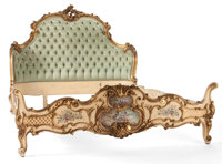 VENETIAN ROCOCO STYLE PAINTED AND PARTIAL GILT BED Italy, first half 20th century 54 x 79 x 68 inches (137.2 x