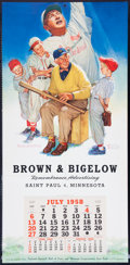 "Baseball Collectibles:Others, 1958 Baseball Theme ""Brown & Bigelow"" Calendar...."