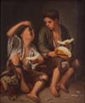 Ceramics & Porcelain, FRAMED KPM PORCELAIN PLAQUE: GRAPE AND MELON EATERS AFTER BARTOME MURILLO . Königliche Porzellan-Manufactur, Ber...