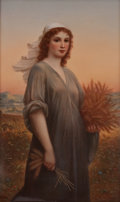 Ceramics & Porcelain, FRAMED KPM PORCELAIN PLAQUE: RUTH AFTER LANDELLE . Königliche Porzellan-Manufactur, Berlin, Germany, circa 1900...