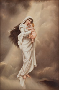 FRAMED KPM PORCELAIN PLAQUE: MADONNA AND CHILD Königliche Porzellan-Manufactur, Berlin, Germ