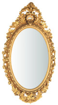 Furniture , LARGE ROCOCO STYLE GILT WOOD OVAL MIRROR . 20th century . 86 x 50 x 4 inches (218.4 x 127 x 10.2 cm). ...