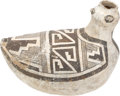 American Indian Art:Pottery, A TULAROSA BLACK-ON-WHITE EFFIGY DUCK. c. 1250 A.D....