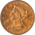 Liberty Eagles: , 1893 $10 MS63 PCGS. PCGS Population (2070/212). NGC Census:(6020/712). Mintage: 1,840,895. Numismedia Wsl. Price for probl...