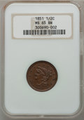 Half Cents, 1851 1/2 C MS65 Brown NGC. C-1, B-1, R.1. ...