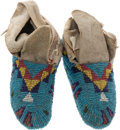American Indian Art:Beadwork and Quillwork, A PAIR OF SIOUX CHILD'S CEREMONIAL BEADED HIDE MOCCASINS. c.1900... (Total: 1 Pair)