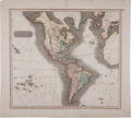 Books:Maps & Atlases, John Thomson. Map of America. One large double-page hand-coloredmap: plate No. 52 depicting the North and South America...