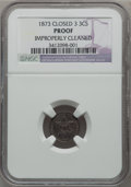 Proof Three Cent Silver, 1873 3CS Closed 3 -- Improperly Cleaned -- NGC Details. Proof....
