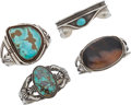 American Indian Art:Jewelry and Silverwork, FOUR NAVAJO SILVER AND STONE BRACELETS. c. 1950 - 1980... (Total: 4Items)